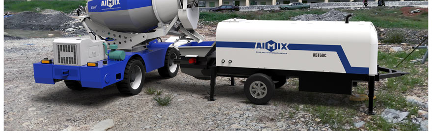 self loading concrete mixer and trailer pump