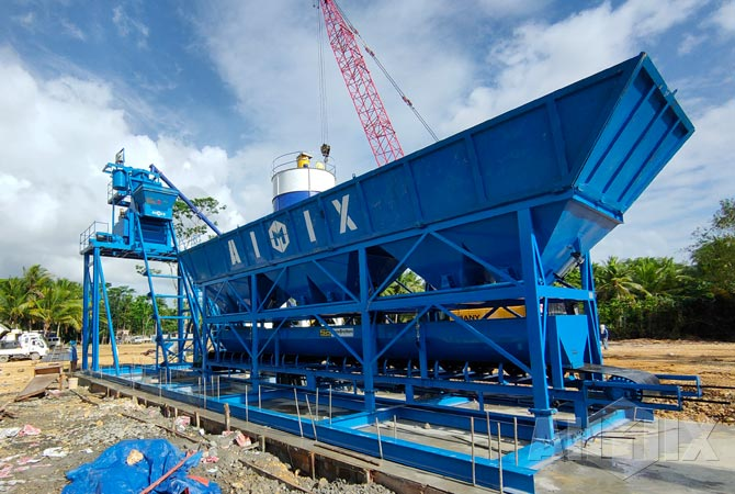 AJM50 concrete batching plant in Philippines