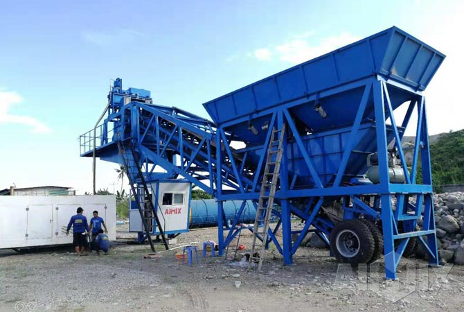 AJY35 mobile concrete batching plant in Philippines
