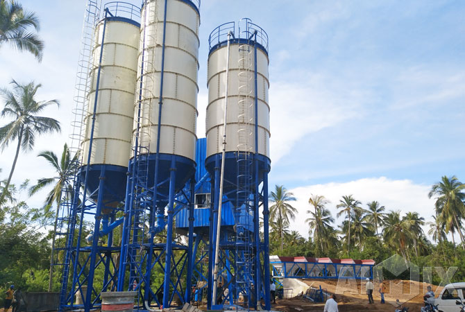 Bolted cement silos for AJ60 concrete batching plant in Sri Lanka