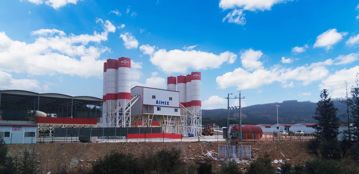 AJ180 concrete batching plant in Mongolia
