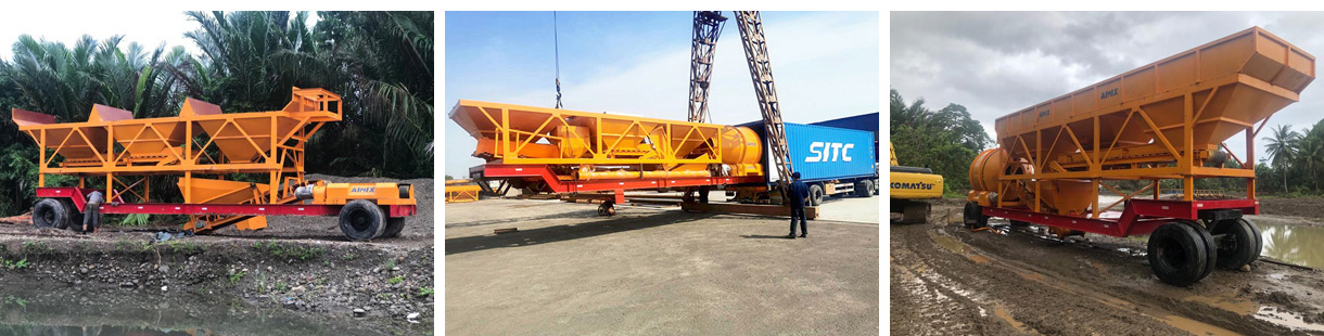 AJY60 Drum Type concrete batching plant in Indonesia