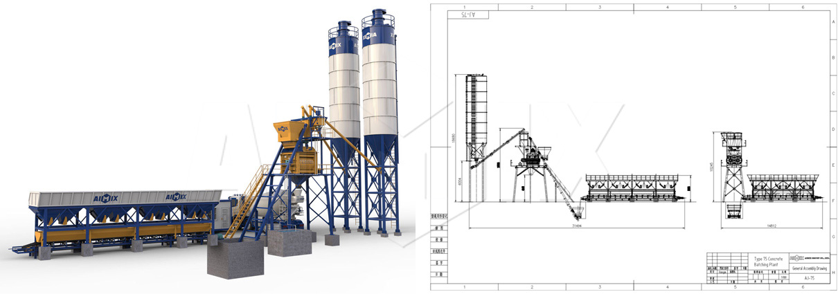 Stationary concrete batching plants drawing