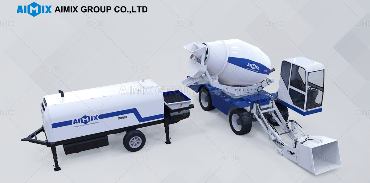 self loading concrete mixer & concrete trailer pump
